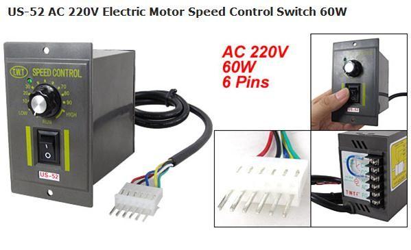 Us 52 ac 220v electric motor speed control switch 60w for Ac motor speed control methods