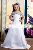 Christmas White Satin Straps Beads Wedding Flower Girls' Dre...