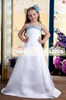 Christmas White Satin Straps Beads Wedding Flower Girls' Dre...