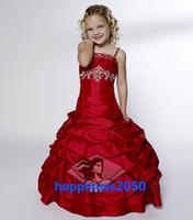 Wholesale Girls Gown Dresses Sz 12 - Lovely Red Satin Flower Girl Dresses Girls' Formal Dresses Pageant Dress Custom SZ 2 4 6 8 10 12 FD8140204