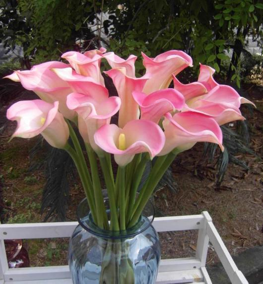 Real Touch Callas / 60cm Real Feeling PU Callas calla lily Flores Calla Lily grande para ramo de boda Flor decorativa artificial
