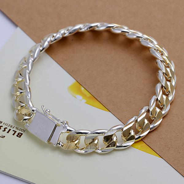 Fashion 925 Silver Men's Bracelets Jewelry Unique 10MM Gold Curb Chain Charm Men Bracelets Jewelry HOT SALE Good Gift