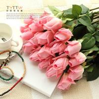 искусственный крем оптовых-Реальный сенсорный розы цветок 55 см крем / розовый искусственный шелк розы бутоны один стебель для свадебный букет / центральные украшения