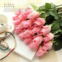 ingrosso buds di seta artificiali-REAL TOUCH Rose Flower 55cm Cream / Pink Rose artificiali Seta Gemme Stelo singolo per bouquet da sposa / centrotavola Decorazione