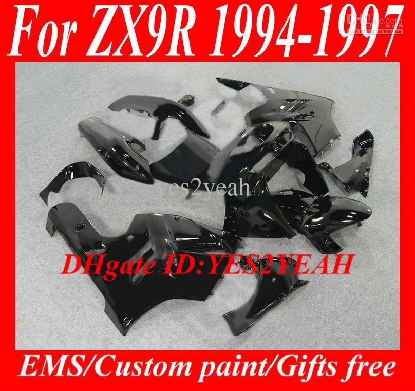 Kuiken Body Kit voor Kawasaki Ninja ZX9R 94 95 96 97 Carrosserie ZX 9R 1994 1996 1997 Black Backings Set + Gifts KG22