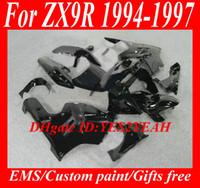 1996 kawasaki zx9r kaplama kiti toptan satış-KAWASAKI Ninja ZX9R 94 95 96 97 Kaporta ZX 9R 1994 1996 1997 için siyah kaporta kiti