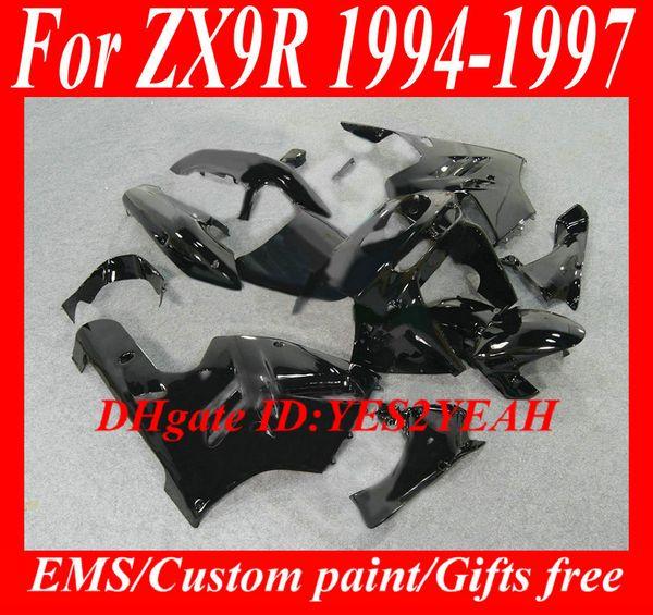 Kit de cuerpo de carenado para KAWASAKI Ninja ZX9R 94 95 96 97 Carrocería ZX 9R 1994 1996 1997 Set de carenados negros + regalos KG22