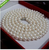 Wholesale 9mm Sterling Silver Chain - 36 inch 8-9mm AAA perfect Akoya white cream pearl necklace14k White Gold