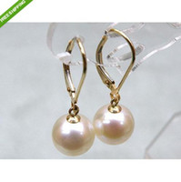 Wholesale Yellow Pearl Dangle Earrings - PERFECT ROUND 9-10MM AAA SOUTH SEA WHITE PEARL DANGLE EARRING 14K YELLOW GOLD