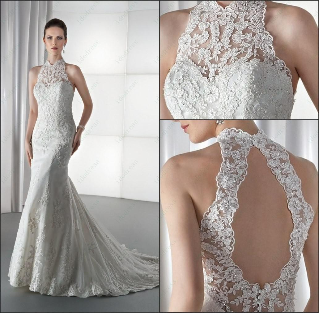Charming High Neck Lace Bridal Wedding Dress Sheath Backless Stain ...