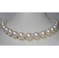 "Wholesale Pearl Real Akoya - REAL SOUTH SEA AAA+ 10-11 MM AKOYA WHITE PEARL NECKLACE 18"" 14k"