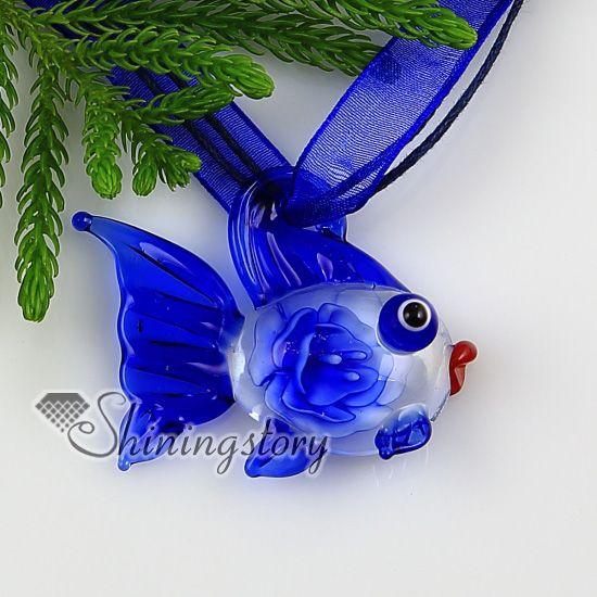 fish flowers inside Itailian lampwork murano glass necklaces pendants Cheap fashion jewelry Mup2273yh5