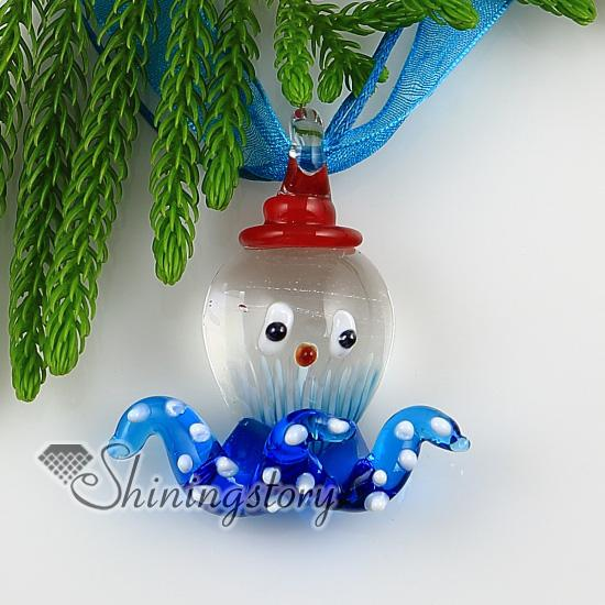 octopus with flowers inside Itailian lampwork murano glass necklaces pendants Handmade jewelry Mup2283yh5