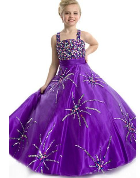 Cheap Lovely Purple Girls Pageant Dresses Beaded Spaghetti Ball ...