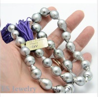 Wholesale Premier Necklaces - RARE PREMIER NATURAL LUXURY GRAY BAROQUE TAHITIAN 13-15mm18inch14k. PEARLS STRAND