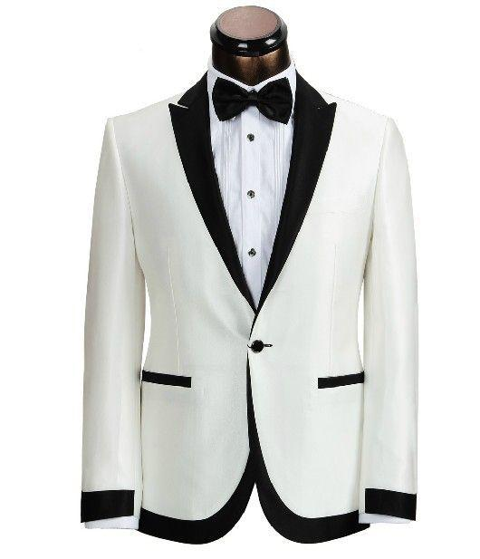 Custom Made Ivory With Black Collar Groom Tuxedos Man Wedding ...