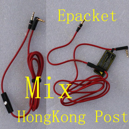 Wholesale Headphones Red Cable - Red Wires for Headphone Replacement Cable Headphone Extension Cables with Mic and Volume Control Talk