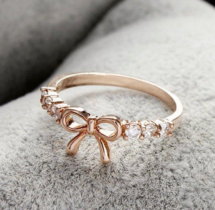 2013 New Cheap Crystal Bow Tie Wedding Ring Korea Lovely Women