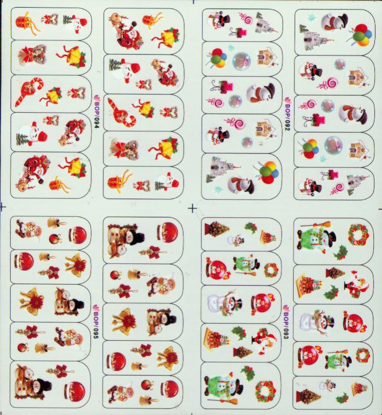 Weihnachtsnagelkunst-Abziehbild-Wasser-neues 2013 Wasser-Abziehbild-/ 4in1 Nagelentwurfs-Nagel-Abziehbild-Wasser-Abziehbild