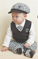 Wholesale bow tie t shirt - Wholesale - Boys 5pc suits Hat+Pants+tie+vest+T-shirt baby girls Christmas clothing suit Children's Outfits 5set