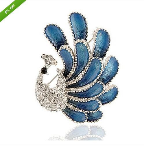 Vintage Style Silver Amazing Dark Blue Enamel Corsage Peacock Broche Pin