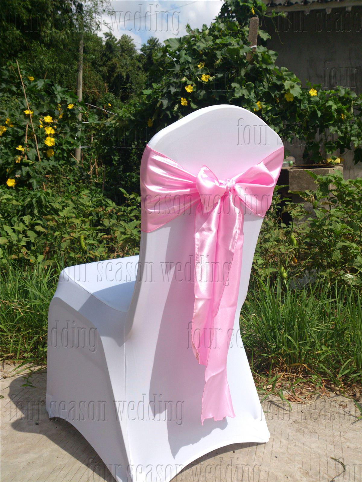 Pink Satin Chair Sash Bow Ribbon Wedding Satin Chair Sash Bow