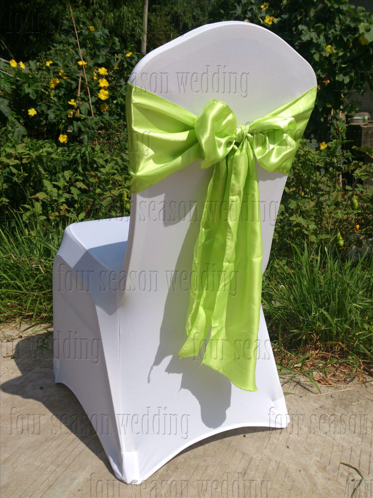 Great 100pcs Light Green Apple Green Satin Chair Sash Bow Ribbon Wedding Party  Banquet Decoration Free Shipping