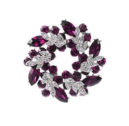 Wholesale Purple Glass Plates - Rhodium Silver Plated Purple Crystal Wreath Brooch