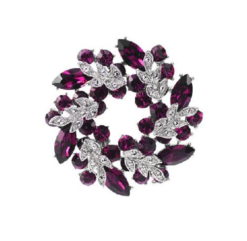 Rhodium Silver Plated Purple Crystal Wreath Brooch