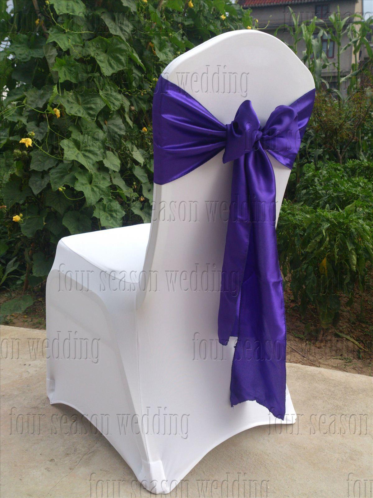 Purple Satin Chair Sash Bow Ribbon Wedding Party Banquet