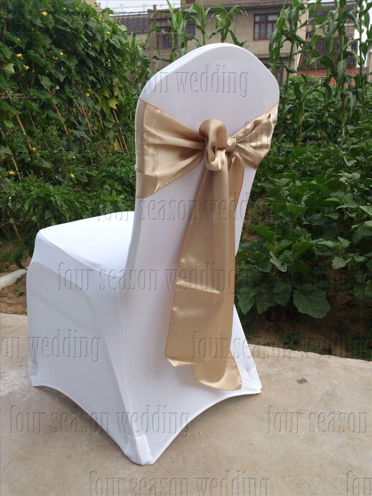 Khaki Satin Chair Sash Bow Ribbon Wedding Party Banquet Decoration