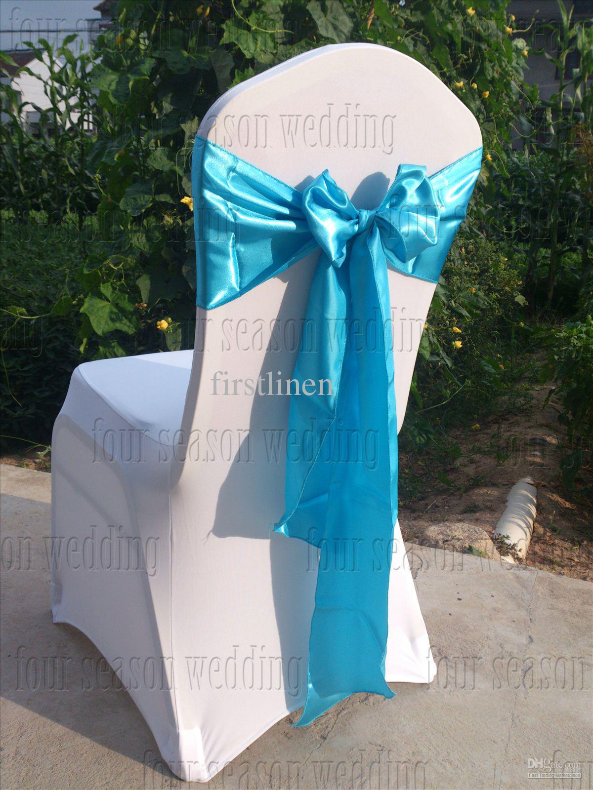 Sky Blue Satin Chair Sash Bow Ribbon Wedding Party Banquet