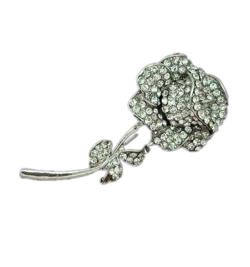 Rhodium Silver Clear Rhinestone Crystal Rose Flower Brooch