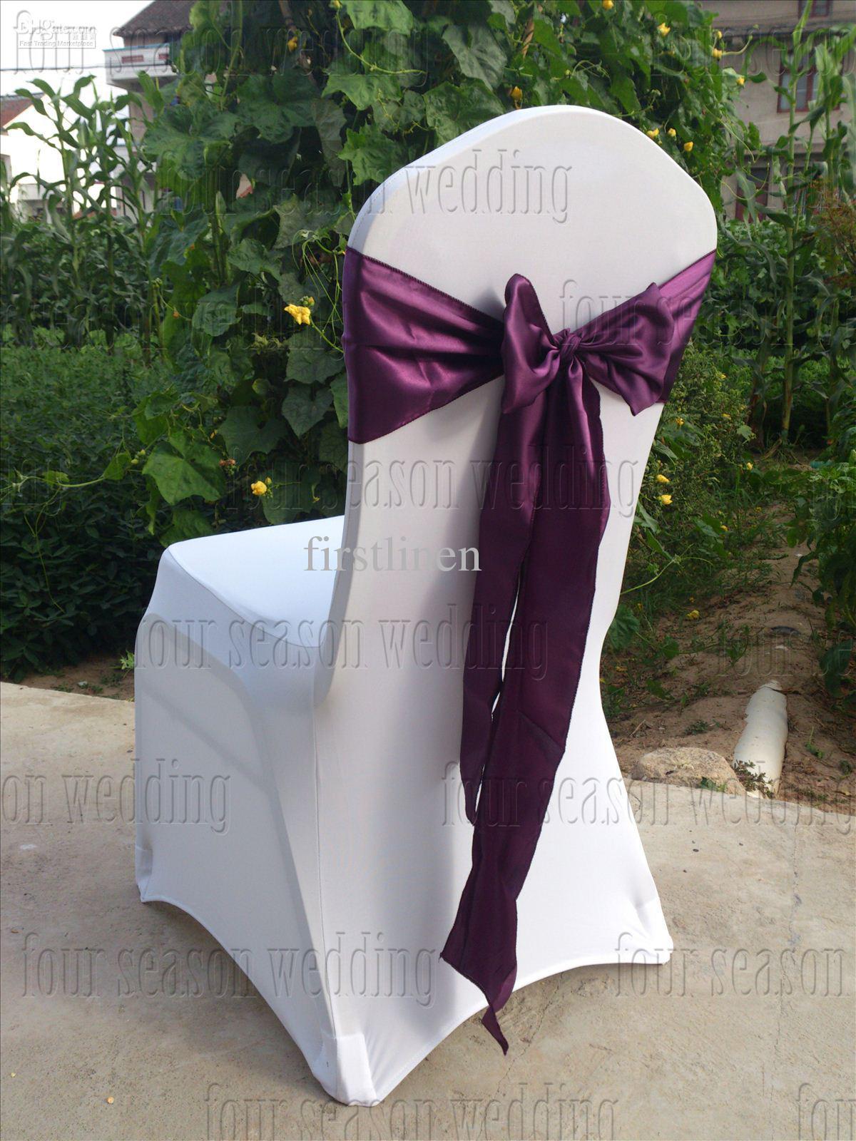 Dark Purple Satin Chair Sash Bow Ribbon Wedding Satin Chair