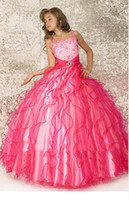 Wholesale Girls Gown Dresses Sz 12 - Lovely Pink Organza Flower Girl Dresses Girls' Formal Dresses Pageant Dress Custom SZ 2 4 6 8 10 12 FD8140212