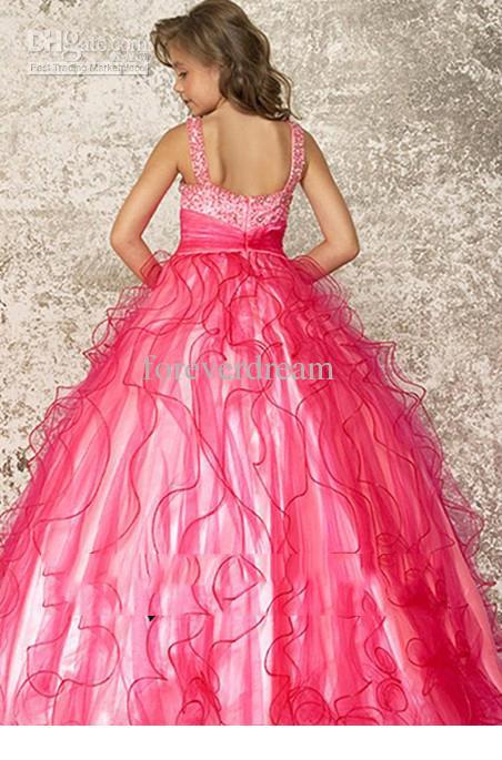 Schöne rosa Organza Blumenmädchenkleider Mädchen 'Formale Kleider Pageant Kleid Benutzerdefinierte SZ 2 4 6 8 10 12 FD8140212
