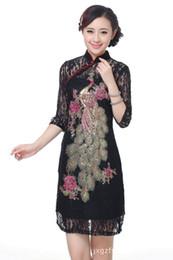 Вечернее платье китайской женщины Cheongsam Lace с длинным рукавом Cheongsam s-3xxl