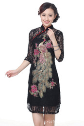 Wholesale Silk Long Cheongsam - Chinese Womens cheongsam Evening Dress Lace long sleeve Cheongsam s-3xxl