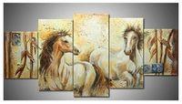 Wholesale Horse Art Canvas Set - Hand-painted Hi-Q modern wall art home decorative animal oil painting on canvas--Bamboo horse 5pcs set