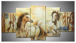 Wholesale Modern Abstract Oil Paintings Bamboo - Hand-painted Hi-Q modern wall art home decorative animal oil painting on canvas--Bamboo horse 5pcs set