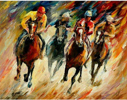 Wholesale Oil Painting Horses Racing - Hand-painted Hi-Q modern wall art home decorative abstract animal oil painting on canvas--Horse racing 1pc set