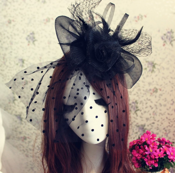 best selling High Quality Beautiful Charming Black White Wedding Hats Birdcage Face Veil Bridal Flower Feathers Fascinator