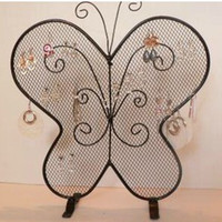 Wholesale Wrought Iron Metal Shelf - Wrought Iron Butterfly Mesh Earring Accessories Stud Display Stand Shelf Jewelry Holder Storage Rack Gift Crafts