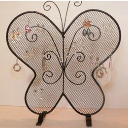 Wholesale Holders Wrought Iron - Wrought Iron Butterfly Mesh Earring Accessories Stud Display Stand Shelf Jewelry Holder Storage Rack Gift Crafts