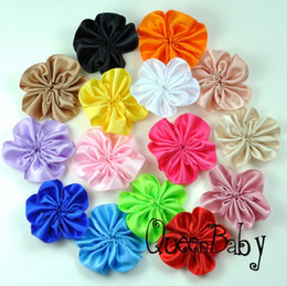 single flowers hair NZ - Trial Order Unfinished Satin Ribbon Flower 1.5 Inch Single Flowers,Hair Accessories 96pcs lot QueenBaby