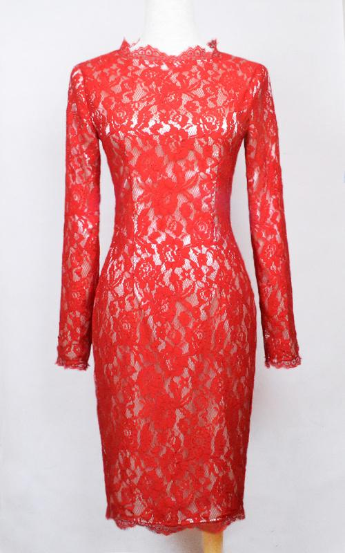 Hot Sale Free Shipping Kim Kardashian Dress Knee Length Lace Party Dress Cocktail Dresses Custom Made