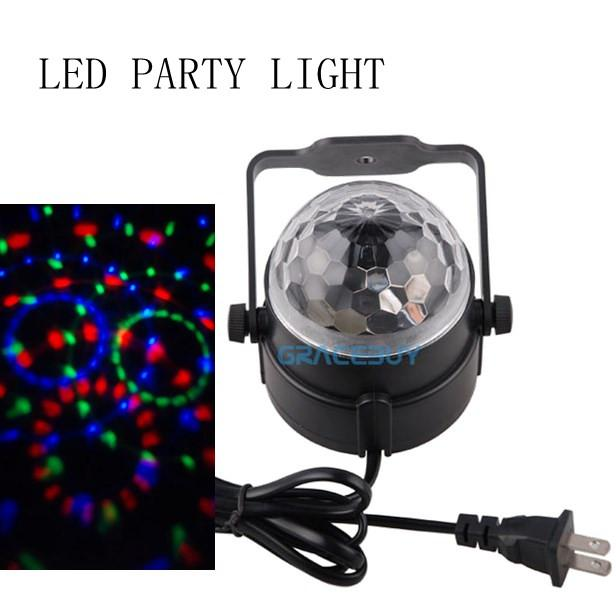 Mini 3W 90-240V 3 Color Change Voice Control Energy Saving LED Rotating Lamp Stage Light for Home Party Disco DJ Bar US Plug Brand New