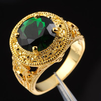 Wholesale gold emerald cut ring - Jenny G Jewelry Size 9, 10,11,12 Vintage Round-cut Green Emerald Gemstone 18K Yellow Gold Filled Ring for Men Nice Gift