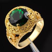 gelbe smaragdringe großhandel-Jenny G Schmuck Größe 9, 10,11,12 Vintage-Runde geschnittenen grünen Smaragd Edelstein 18K Gelbgold gefüllt Ring für Männer schönes Geschenk