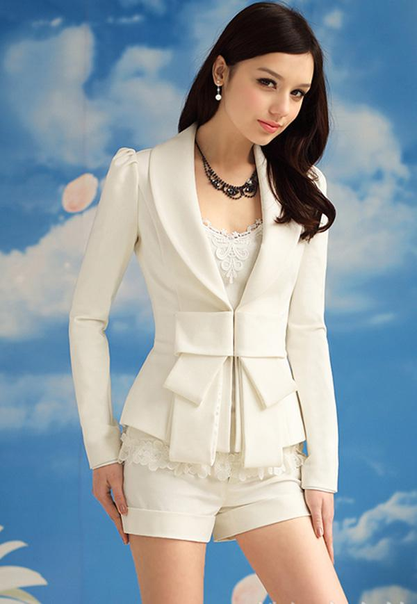 Lente 2017 nieuwe vrouwen wit grote boog blazer pak jas dame elegantie slanke reversblazers jas bovenkleding